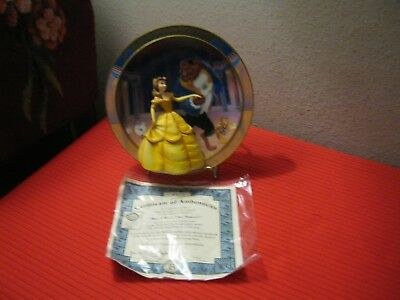 DISNEY'S Bradford Edition MAY I HAVE THIS DANCE Belle & Beast 3-D Plate-COA
