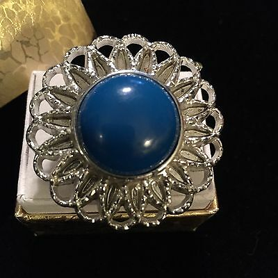 Repurposed Upcycled Vintage BIG Shiny Silver & Bright Blue Round Cocktail Ring