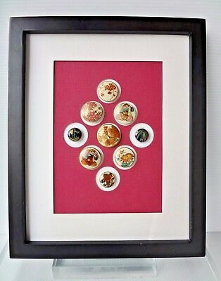 LOT OF 9 ANTIQUE JAPANESE SATSUMA PORCELAIN BUTTONS IN FRAME 19th - 20th CENTURY
