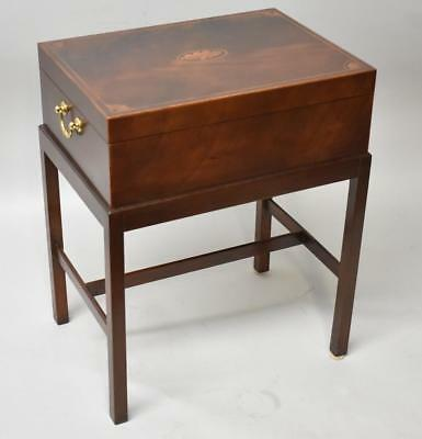 Baker Furniture Mahogany Deed Box /Stand /Chest Inlay Details Banded Edge