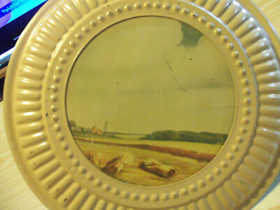 Country Scene Stovepipe Chimney FLUE COVER Metal Plate Wheat Harvest Season