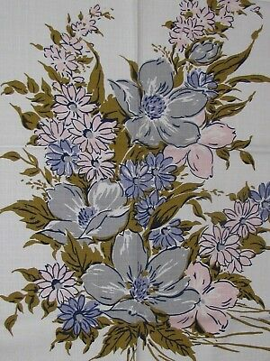 """Vintage Kitchen Tablecloth 49X51"""" Lovely Fabric  Pattern Flowers"""