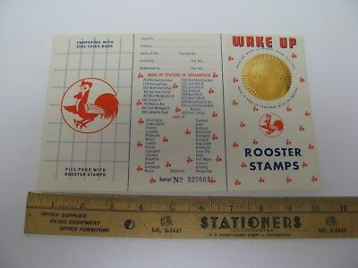 Wake Up Gas Station Rooster Stamp Book Chicken Motor Oil Advertising Gold Seal