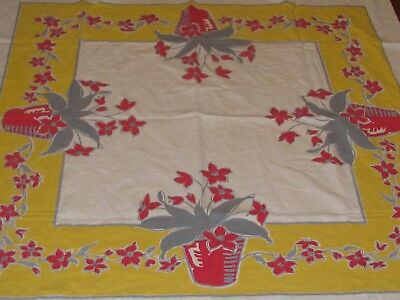"Vintage Kitchen Tablecloth yellow & Red Flowers 47x50"" Light Stains Cutter ?"