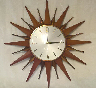 Vintage May 1973 Metamec Sunburst Starburst Wall Clock Pristine Condition 18""