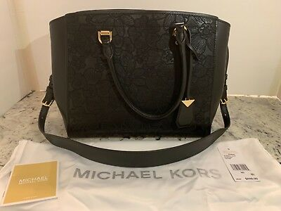 b7ef0915b8a8f7 MICHAEL Kors BENNING Large Satchel Black Leather Floral Bag $448 RETAIL