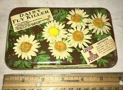 Antique Daisy Fly Killer Poison Tin Litho Can Unusual Brooklyn Ny 1888 Insect