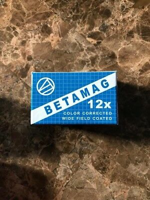 Betamag 12x color corrected wide field eye glass with light. loupe