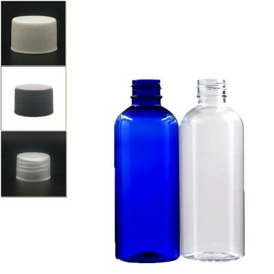 10X100ml empty plastic bottle clear/blue pet bottle with plastic ribbe screw cap