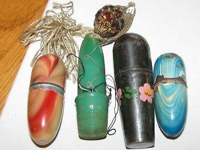 Vintage lot of 4 Sewing Egg Case Thimbles Enamel Metal Plastic Rhinestones