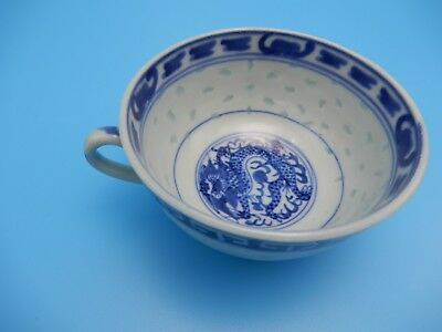 Chinese Rice Porcelain Blue White Coffee Tea Cup with Handle and Dragon Signed
