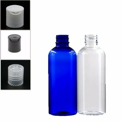 10X100ml empty plastic bottle clear/blue pet bottle with plastic disc top cap