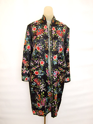 Vintage Chinese Embroidered Silk Evening Coat Black Plum Blossoms Label
