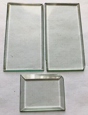 ⭐️ANTIQUE BEVELLED EDGED CARRIAGE CLOCK GLASSES1x SMALL 2x OBLONG LARGE⭐️