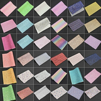Glitter Synthetic Leather Upholstery Fabric Sheets Hair Bow Sewing Wedding Decor