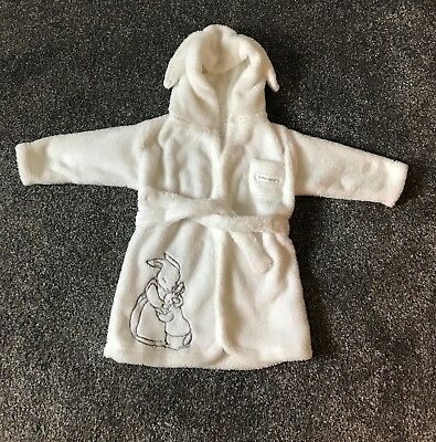 Girls White Peter Rabbit Dressing Gown Age 9-12 Months - Fantastic Condition