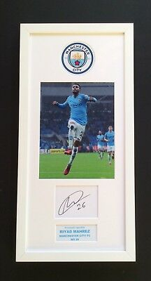 Riyad Mahrez Man City FC Hand Signed Mounted Frame