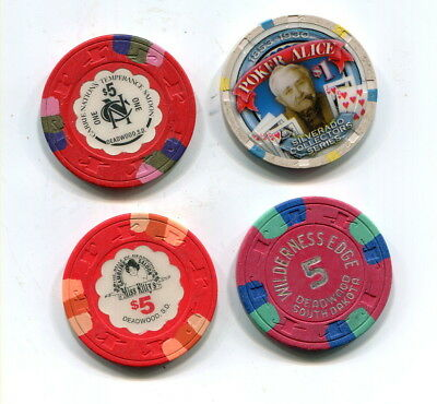 Four Different Deadwood South Dakota Gambling Chips -- Three $5 And A $1