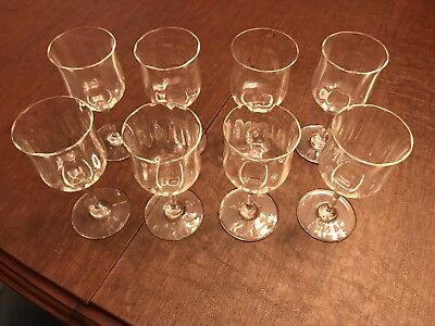"Baccarat France Crystal Capri Optic 8 Claret Wine Glasses, 6"" Lot Of Eight"