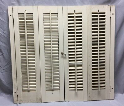 Vintage Pair Interior Louvered Bifold Window Shutters Wood 46-19C