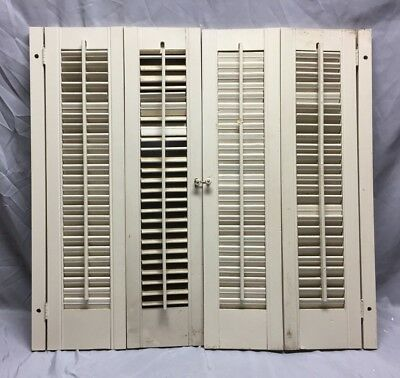 Vintage Pair Interior Louvered Bifold Window Shutters Wood 47-19C