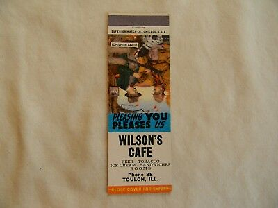 Toulon Illinois food & beverage cafe low # phone 38 matchcover matchbook