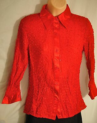 92a7aaf2b31 women s MIA MIA bright red long sleeves top size small bright and shiny  buttons