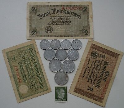 Nazi Germany lot of 10 Coins+3 Banknotes+stamp
