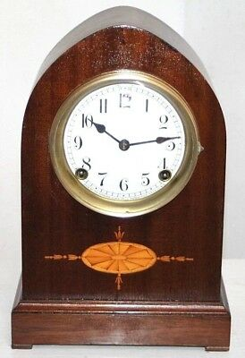 Antique Inlaid Sessions Mahogany Gothic Beehive Mantel Clock W/ Porcelain Dial.