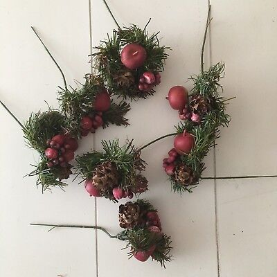 Vintage Christmas Floral Picks Pomegranate Pinecones Fruit Wreath Craft Supplies