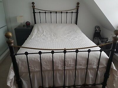 Genuine Original Antique Restored Victorian Double Iron Bed with Brass Fittings