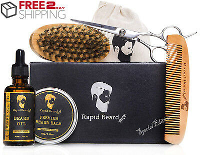 Beard Grooming & Trimming Kit - Beard & Mustache Brush, Comb, Oil, Wax, Scissors