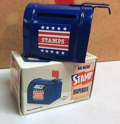 Vintage Metal Blue Mini Country Mailbox Stamp Dispenser With Working Flag In Box
