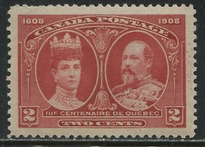 Canada KEVII 1908 Quebec 2 cents carmine unmounted mint NH