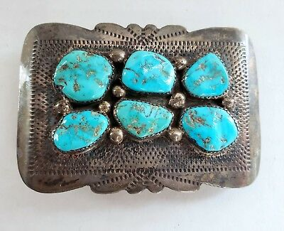VINTAGE EUGENE AND YVONNE MAHOOTY ZUNI STERLING SILVER TURQUOISE BELT BUCKLE 40g