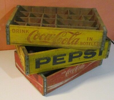 Lot of 3 Vintage Coca Cola & Pepsi Wood Crate, Box,Dividers,Yellow,Red,
