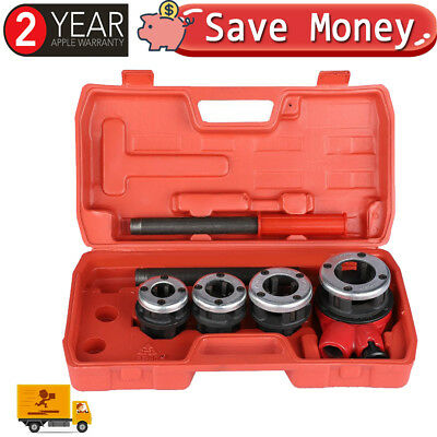 New 6PC Manual 4 Threading Dies Pipe Cutter & Wrenches Kit Ratchet Pipe Threader