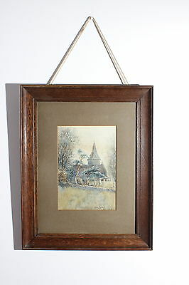 Original Antique English Signed Watercolour Painting with Frame
