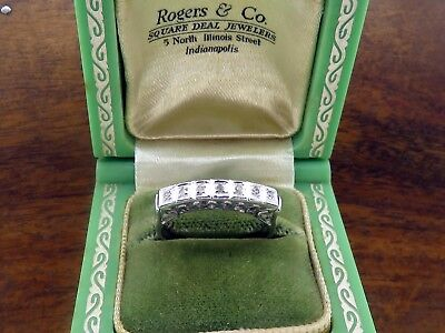 Vintage palladium ART DECO ANTIQUE DIAMOND ENGAGEMENT WEDDING BAND ring