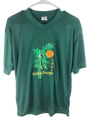 Golden Triangle Laos Green M embroidered t shirt bamboo moon travel internationa