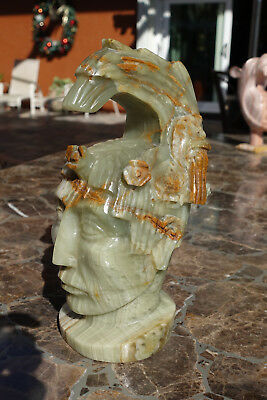 Mayan Aztec Mexico Stone hand carved bust, sculpture, mask, statue....maybe Onyx