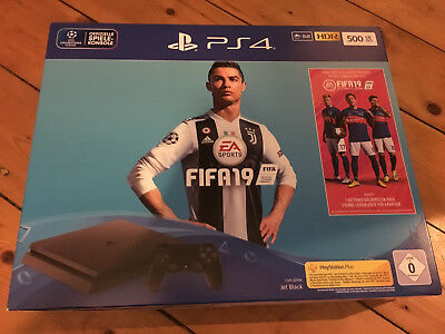 PS4 Sony Playstation 4 500 GB Jet Black Fifa 19 Bundle Neu & OVP