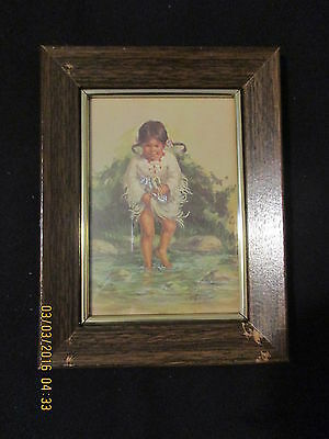 Native American Young Girl in Stream of Water  -  Vel Miller  Framed