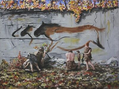Oil Painting Stone Age Cave Art Neolithic Figures with Wolf or Dog Neanderthal