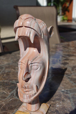 Mayan Aztec Mexico hand carved stone mask, bust, statue, sculpture