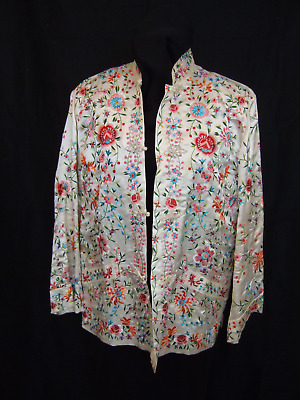 Vintage Chinese Embroidered Silk Jacket White Plum Blossoms Label