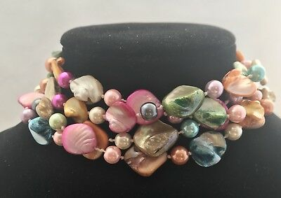 """STUNNING TWO's COMPANY DYED MOTHER OF PEARL MULTI COLOR LONG NECKLACE 56"""""""