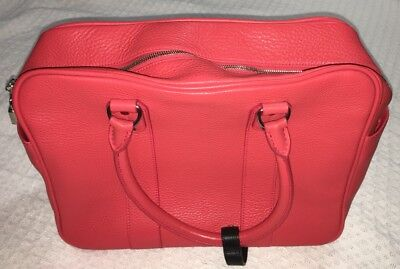 ALAIN MIKLI Watermelon Red Pink Leather Locking Satchel Bag Purse Handbag-NEW