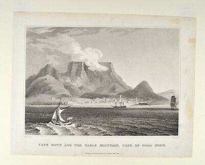 Cape town and the table mountain Kapstadt Tafelberg Orig Antique Print 1850