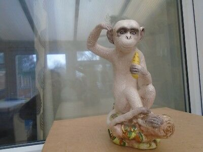 large Majolica style Monkey eating fruit statue  NICE DISPLAY ITEM  attic find